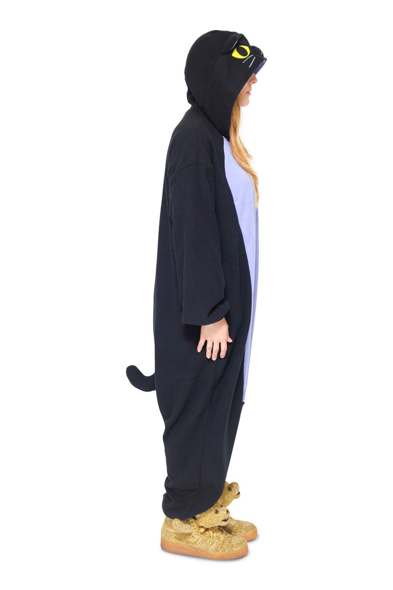 Midnight Cat Animal Kigurumi Adult Onesie Costume Pajamas Side