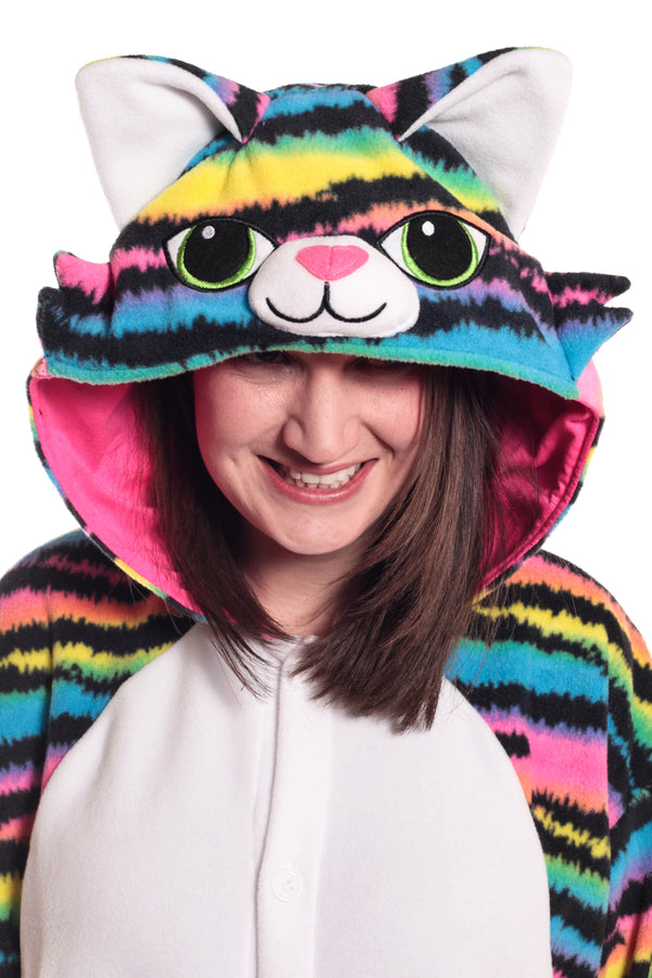 Neon Rainbow Kitty Animal Kigurumi Adult Onesie Costume Pajamas Hood