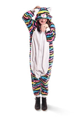 Neon Rainbow Kitty Animal Kigurumi Adult Onesie Costume Pajamas Main