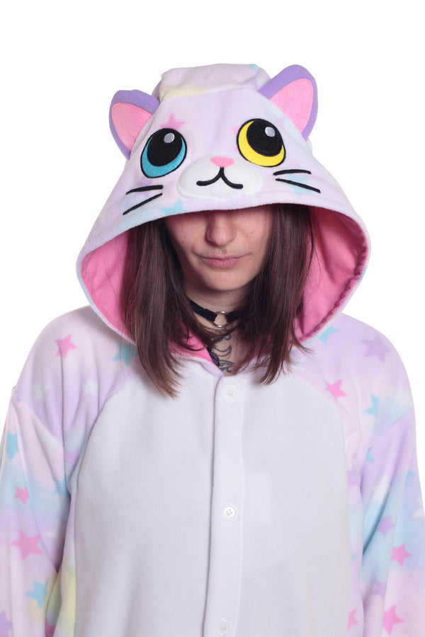 Pastel Dream Cat Kigurumi Adult Onesie Costume Pajamas Animal Stars Hood