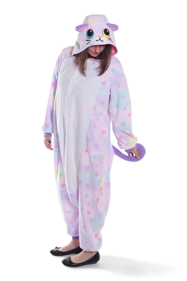 Pastel Dream Cat Kigurumi Adult Onesie Costume Pajamas Animal Stars Main