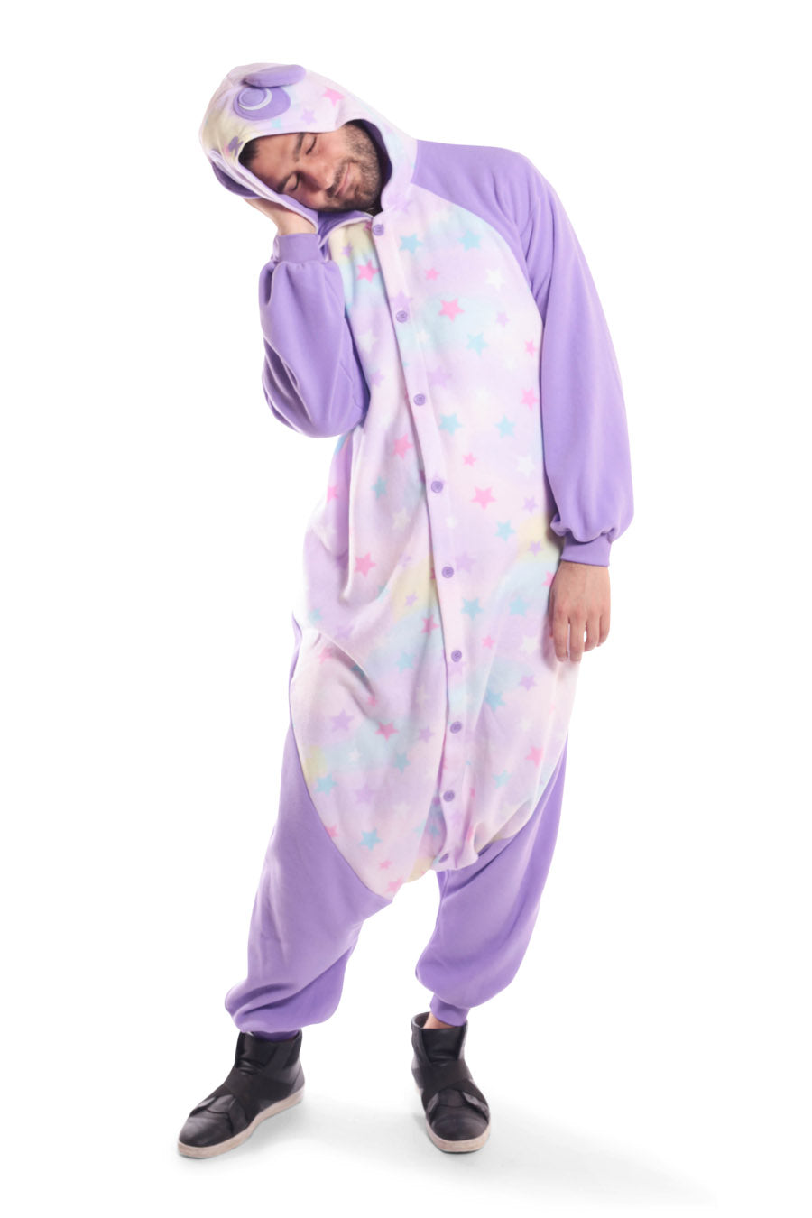 Pastel Dream Panda X-Tall Animal Kigurumi Adult Onesie Costume Pajamas Purple Stars Front Sleep Main