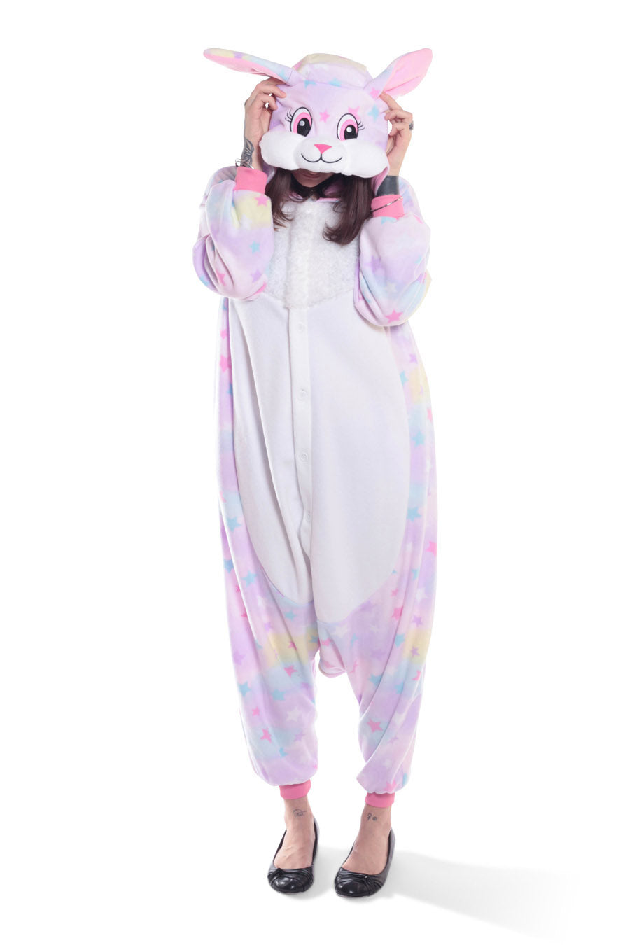 Pastel Dream Rabbit X-Tall Kigurumi Adult Onesie Costume Pajamas Animal Stars Front Main