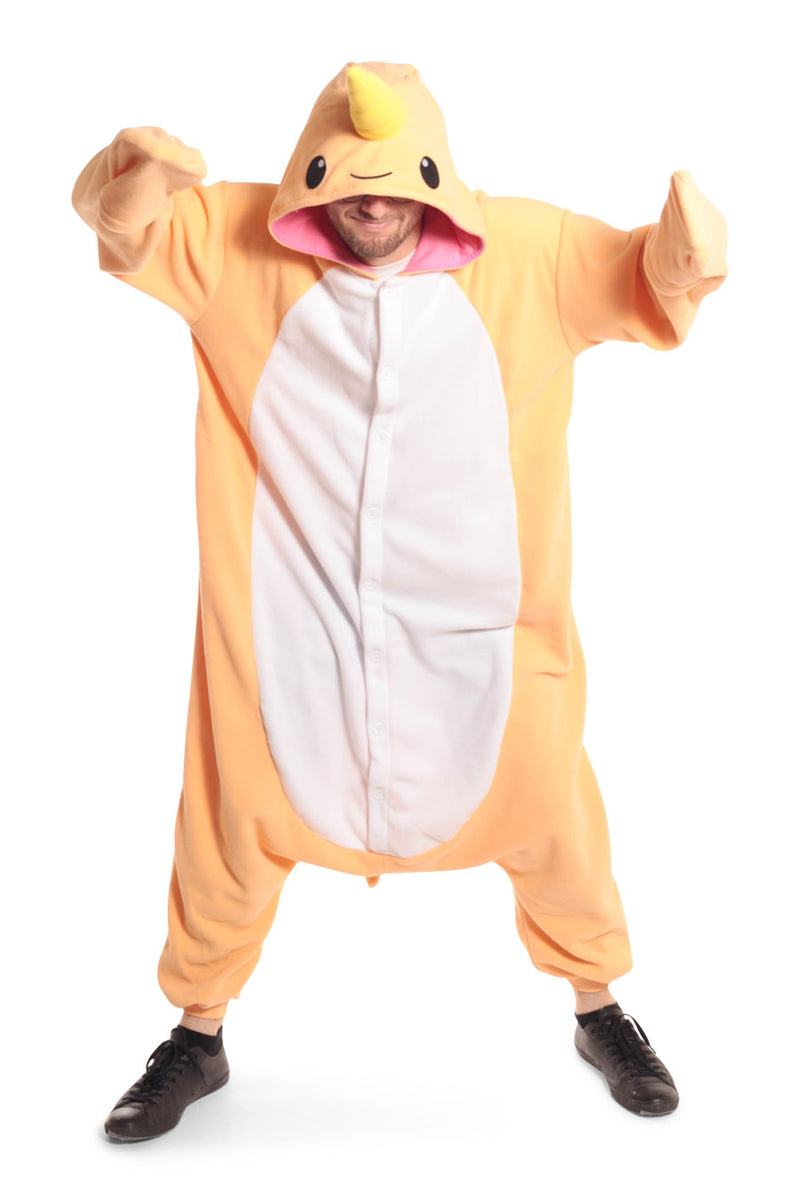 Peach Narwhal Animal Kigurumi Adult Onesie Costume Pajamas Orange Secondary