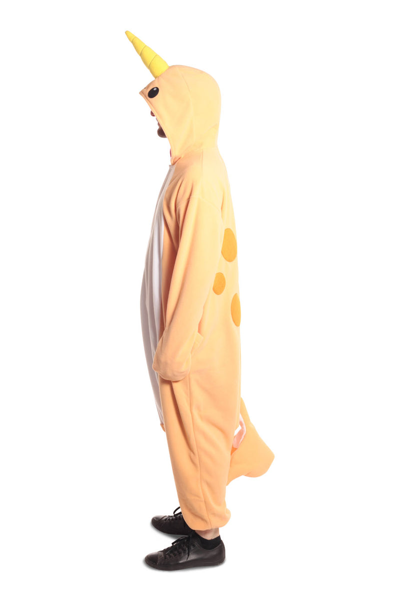 Peach Narwhal Animal Kigurumi Adult Onesie Costume Pajamas Orange Side