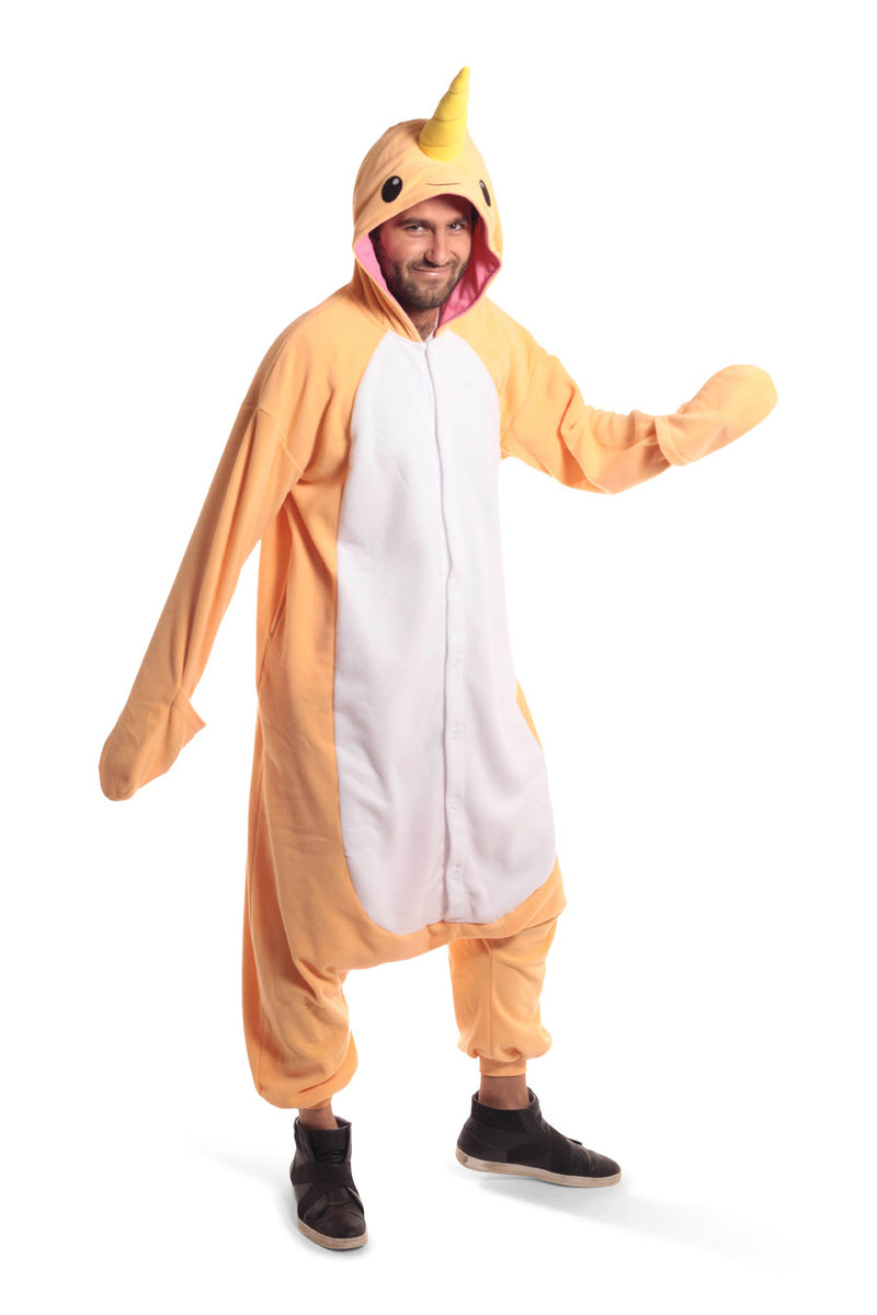 Peach Narwhal X-Tall Animal Kigurumi Adult Onesie Costume Pajamas Orange Front Main