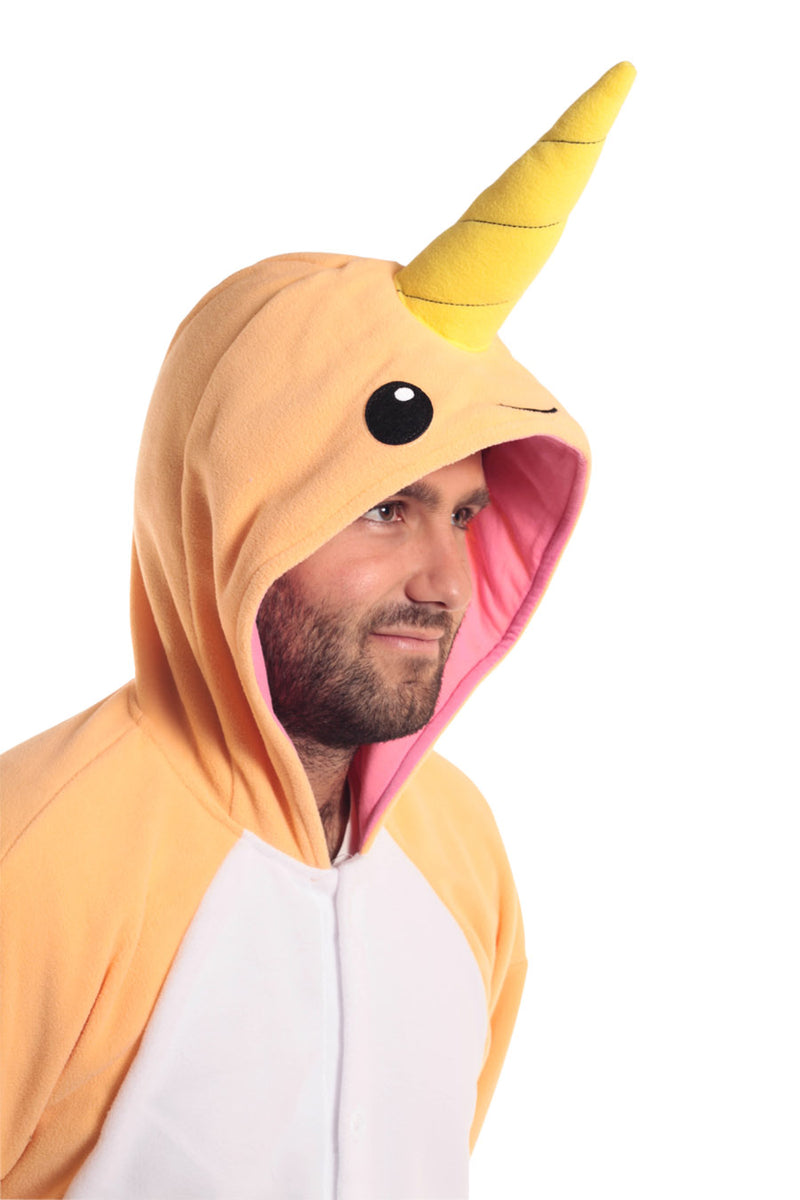 Peach Narwhal X-Tall Animal Kigurumi Adult Onesie Costume Pajamas Orange Tertiary