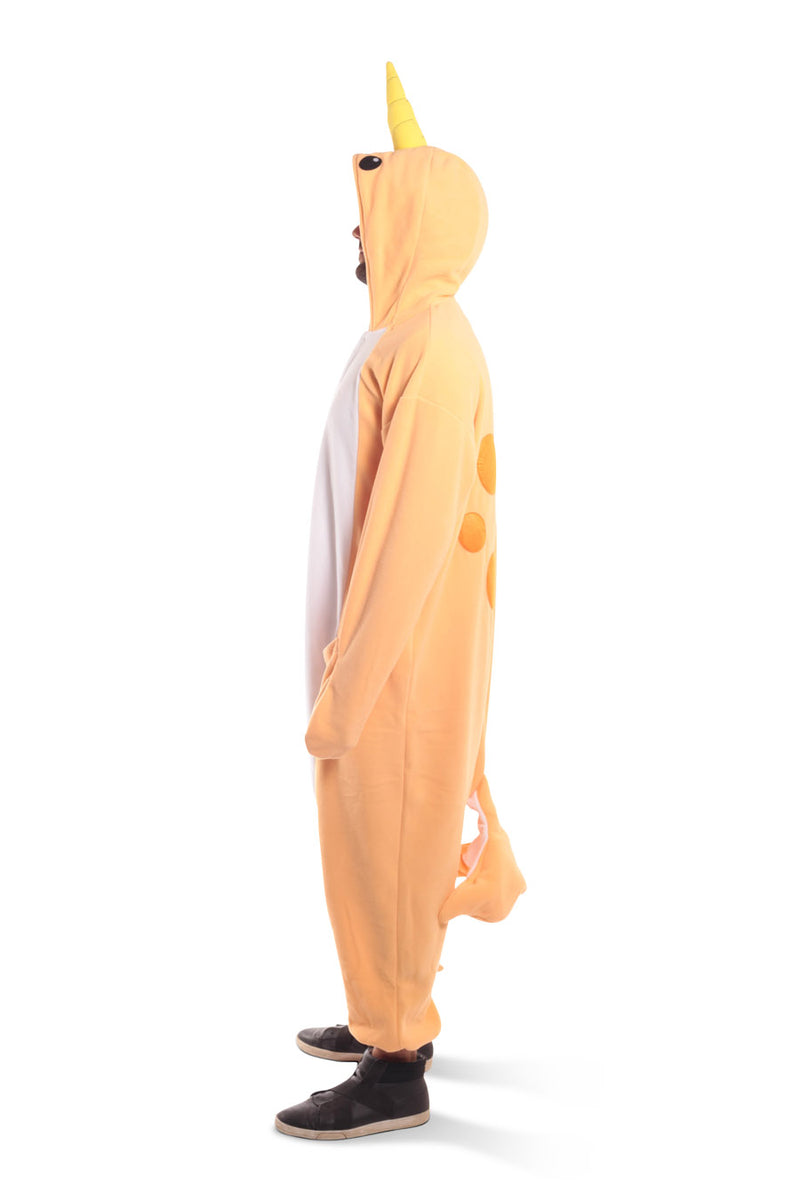 Peach Narwhal X-Tall Animal Kigurumi Adult Onesie Costume Pajamas Orange Side