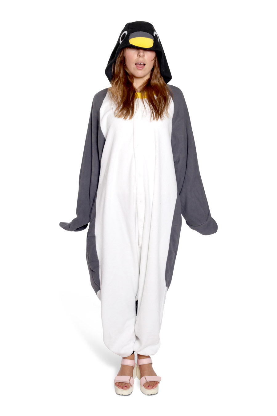 Penguin Animal Kigurumi Adult Onesie Costume Pajamas Black Front Main