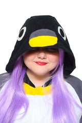 Penguin X-Tall Animal Kigurumi Adult Onesie Costume Pajamas Black Hood