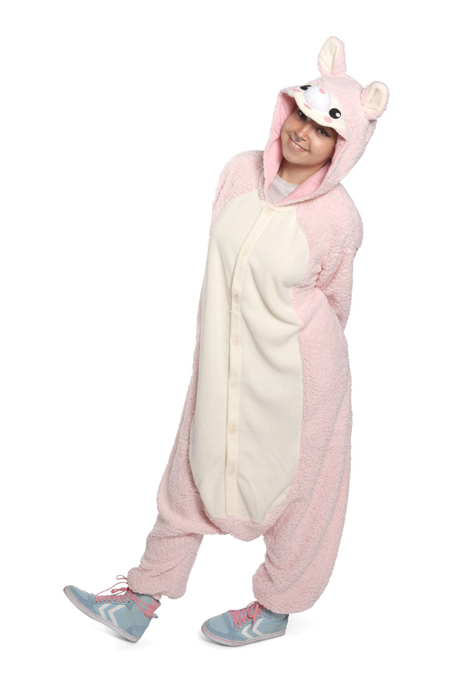 Pink Alpaca Animal Kigurumi Adult Onesie Costume Pajamas Main