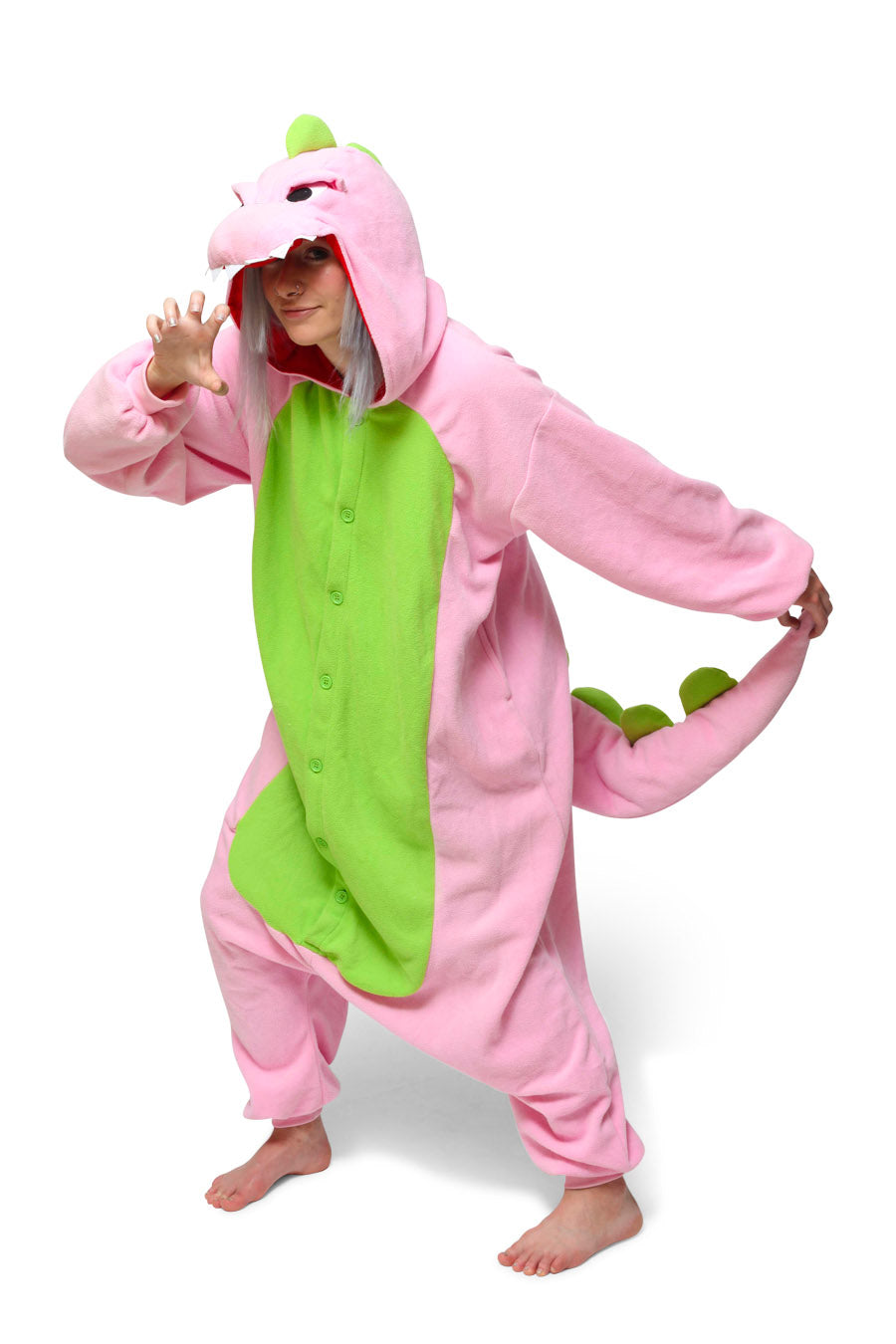 Pink Dinosaur Animal Kigurumi Adult Onesie Costume Pajamas Main