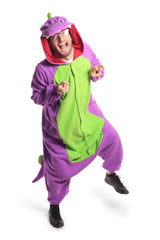 Purple Dinosaur Animal Kigurumi Adult Onesie Costume Pajamas Green Violet Front Secondary
