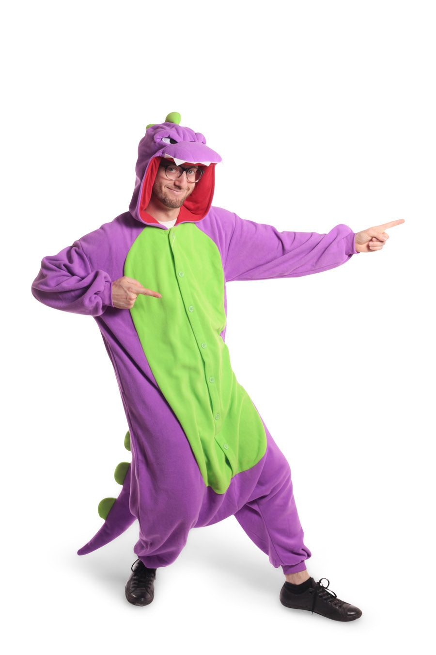 Purple Dinosaur Animal Kigurumi Adult Onesie Costume Pajamas Green Violet Front Main