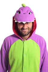 Purple Dinosaur X-Tall Animal Kigurumi Adult Onesie Costume Pajamas Green Front Hood