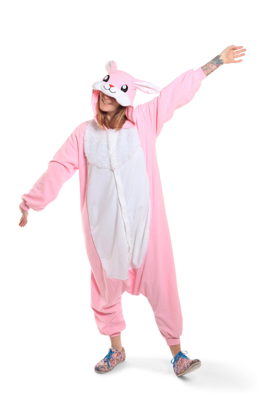 Rabbit Animal Kigurumi Adult Onesie Costume Pajamas Pink Main
