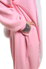 Rabbit Animal Kigurumi Adult Onesie Costume Pajamas Pink Pocket