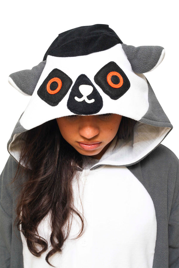 Ring-Tailed Lemur Animal Kigurumi Adult Onesie Costume Pajamas Black Hood