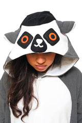 Ring-Tailed Lemur X-Tall Animal Kigurumi Adult Onesie Costume Pajamas Black Hood
