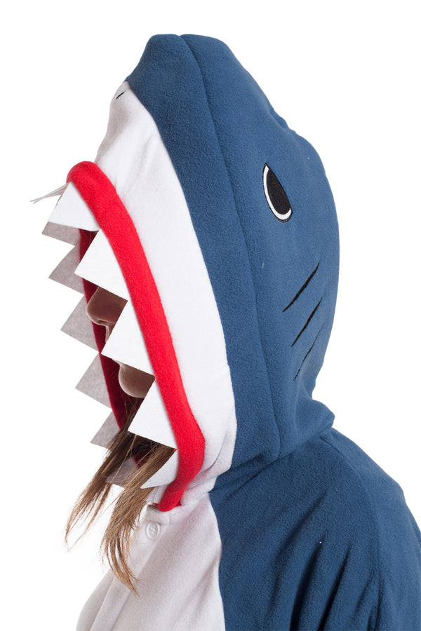 Shark Animal Kigurumi Adult Onesie Costume Pajamas Blue Hood