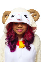 Sheep Animal Kigurumi Adult Onesie Costume Pajamas Fuzzy Ram Hood