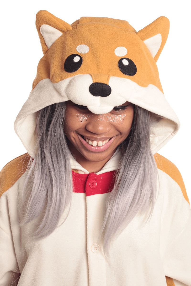 Shiba Dog Animal Kigurumi Adult Onesie Costume Pajamas Hood