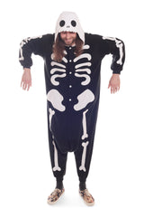 Skeleton X-Tall Animal Kigurumi Adult Onesie Costume Pajamas Black Secondary