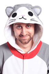 Tabby Cat X-Tall Animal Kigurumi Adult Onesie Costume Pajamas Hood