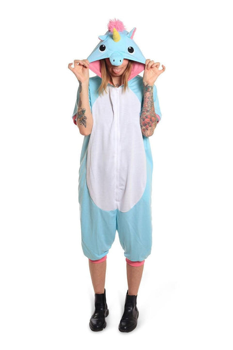 Blue Unicorn Short-Sleeved Sazac Kigurumi Adult Onesie Pyjama Costume