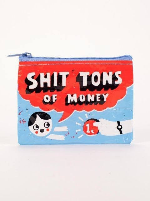 Shit Tons of Money Coin Purse Blue Q