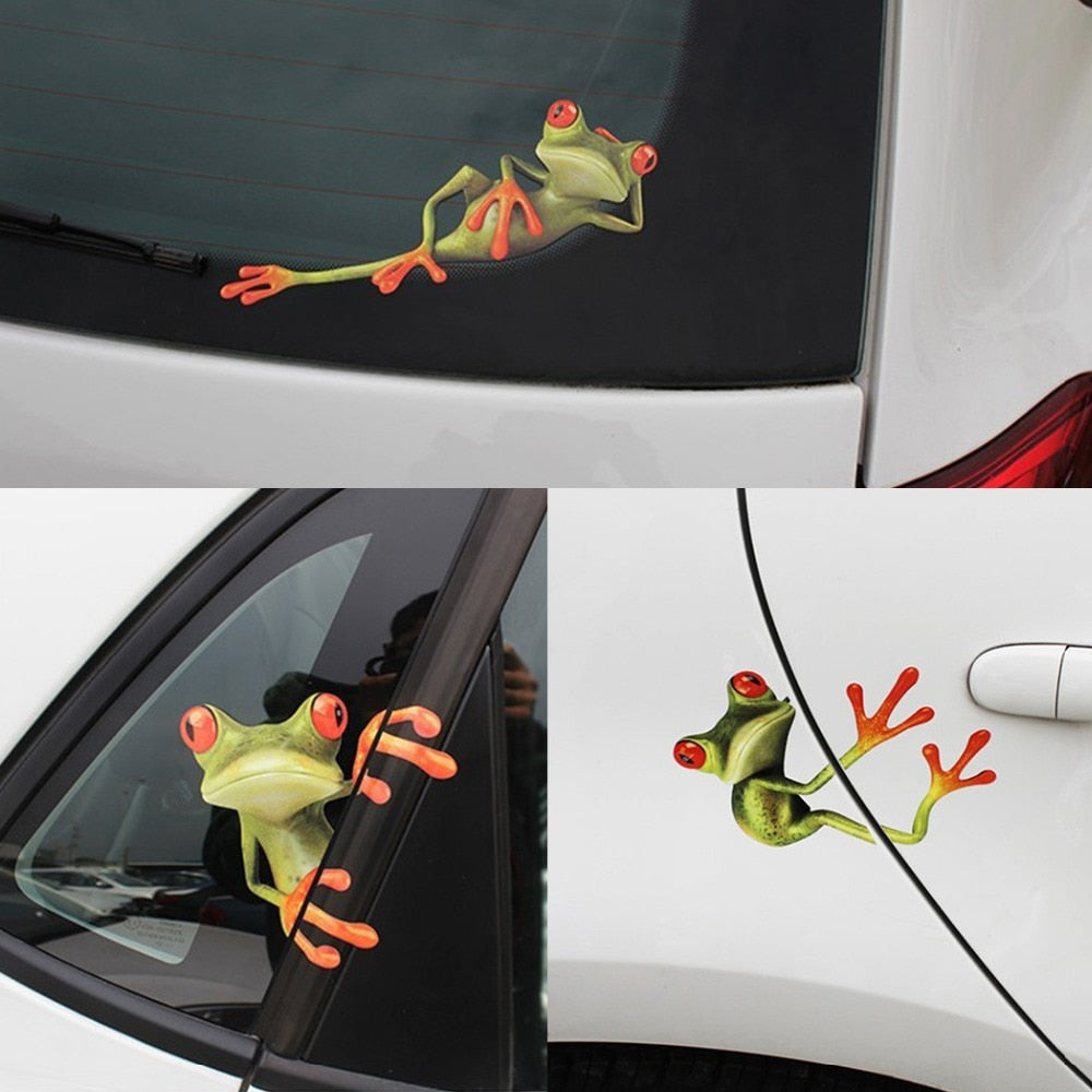 3pcs 19 2 x 20 5cm funny car stickers 3d frogs vinyl decal sticker car styling decoration