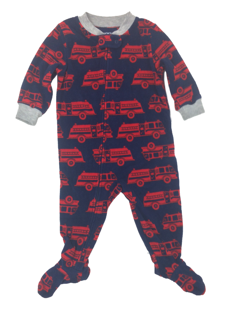b76608d6d Carter's 12 Month Navy Blue and Red Printed Long Sleeve Footed Onesie
