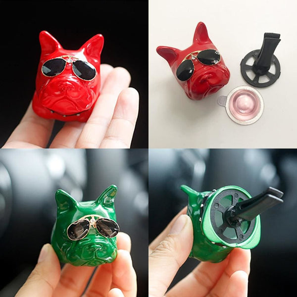 Car Air Freshener Clip CUTE French Bulldog w/ Sunglasses - Wrinkles & Cupcakes