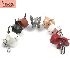 Cute LEATHER French Bulldog Keychain - Wrinkles & Cupcakes