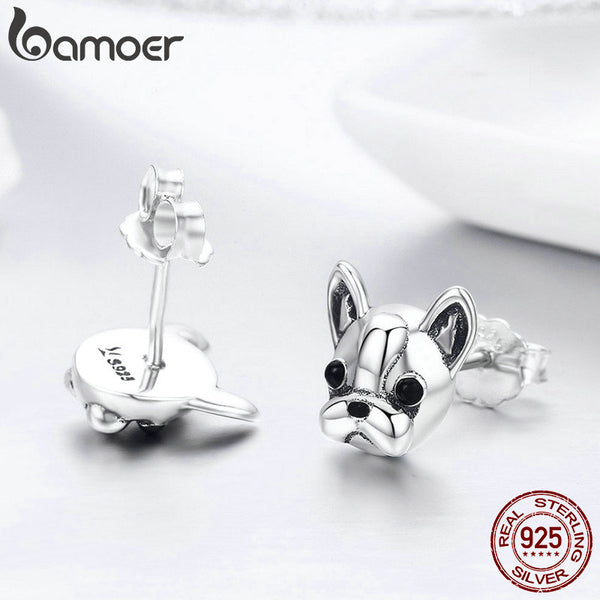 925 Sterling Silver French Bulldog Stud Earrings