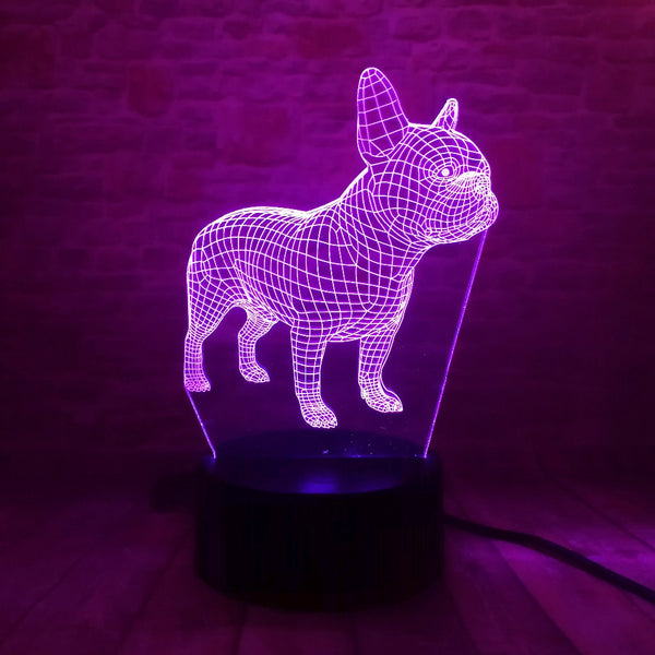 French Bulldog 3D Hologram USB LED Night Light - Wrinkles & Cupcakes