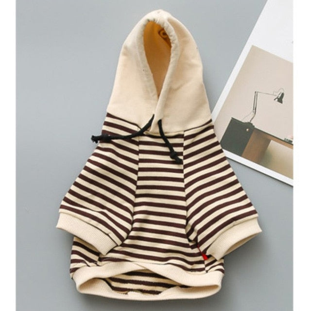 French Bulldog Cotton Striped Hoodie - Wrinkles & Cupcakes