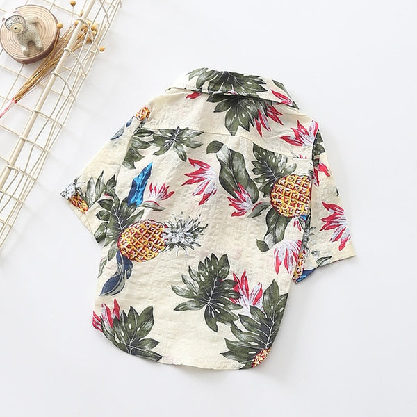 Hawaiian Button-Down with Pineapples Summer Shirt - Wrinkles & Cupcakes