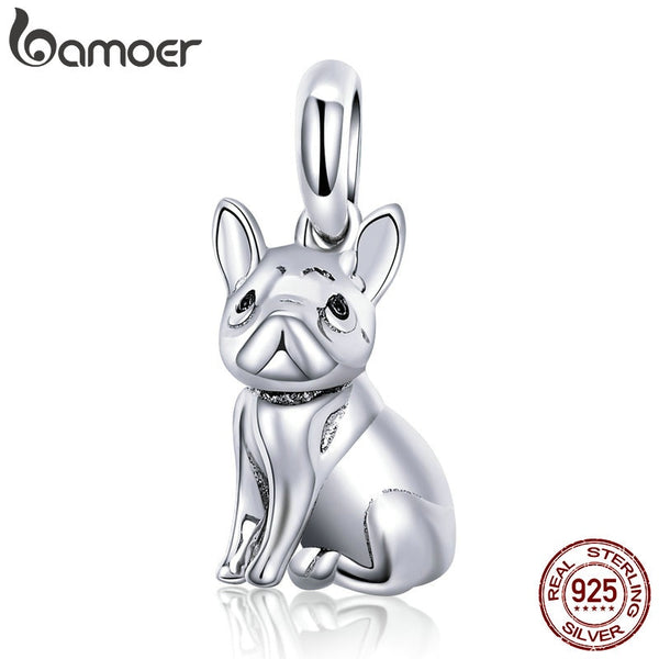 925 Sterling Silver Trendy French Bulldog Pendant Charms