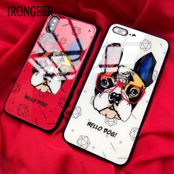 Pop Art Tempered Glass French Bulldog iPhone Cases