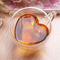 Heart Shaped Handle Double Glass Teacup Coffee Mugs