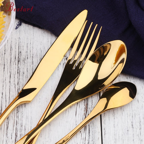 16Pcs 4Sets Stainless Steel Hotel Western Dinnerware Flatware Cutlery Set