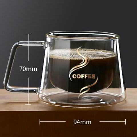 200ML Handle Double Glass Teacup Coffee Mugs