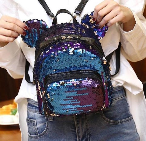 Mouse Sequin Small Mini Backpack