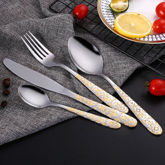 24Pcs 6Sets Luxury Stainless Steel Gold Plated Flatware Cutlery Set