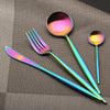 Image of New Stainless Steel Colorful Rainbow Flatware Cutlery Set