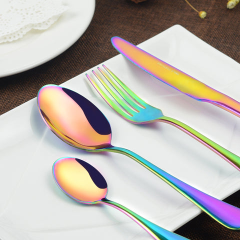 4Pcs Colorful Stainless Steel Western Rainbow Flatware Cutlery Set