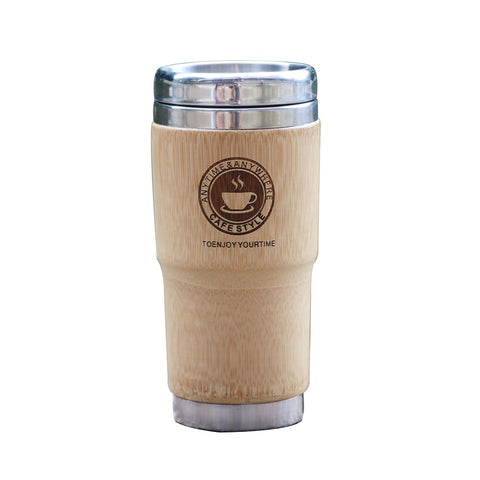 Stainless Steel Tumbler Thermo Bamboo Travel Tea Cup Coffee Mugs