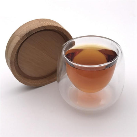 Bamboo Coaster Saucer Espresso Coffee Double Glass Set Tea Cup