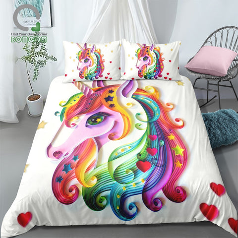 Cute Rainbow Unicorn Bedding Set